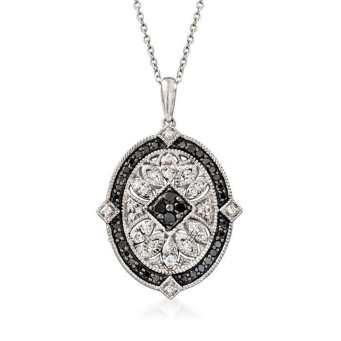 1.00 ct. t.w. Black and White Diamond Pendant Necklace in Sterling Silver