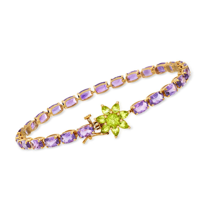 """C. 1990 Vintage 9.10 ct. t.w. Amethyst and 1.05 ct. t.w. Peridot Flower-Clasp Bracelet in 14kt Yellow Gold. 7.5"""", , default"""