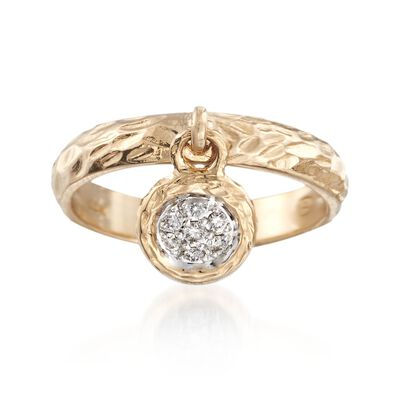 .20 ct. t.w. Black and White Diamond Circle Charm Ring in 14kt Yellow Gold
