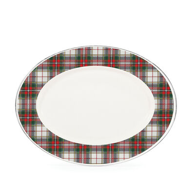 "Golden Rabbit ""Highland Plaid"" Oval Platter, , default"