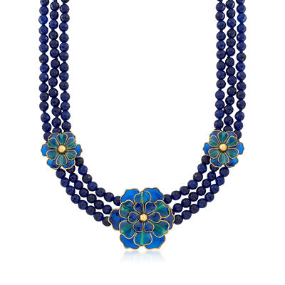 Italian Cathedral Enamel Flower and Blue Quartz Bead Necklace with 18kt Gold Over Sterling, , default