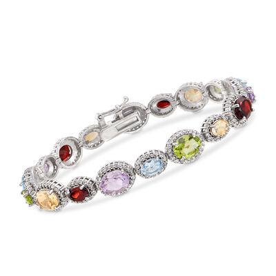 16.00 ct. t.w. Multi-Stone Tennis Bracelet in Sterling Silver, , default