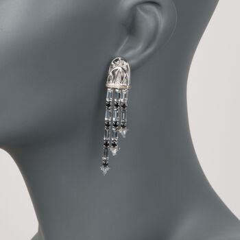 """Andrea Candela """"Art Deco"""" 8.75 ct. t.w. White Topaz and Black Spinel Earrings With Diamonds in Sterling Silver, , default"""