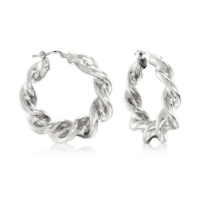 Italian Sterling Silver Twisted Hoop Earrings, , default