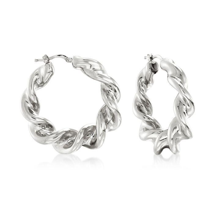 "Italian Sterling Silver Twisted Hoop Earrings. 1 1/2"", , default"