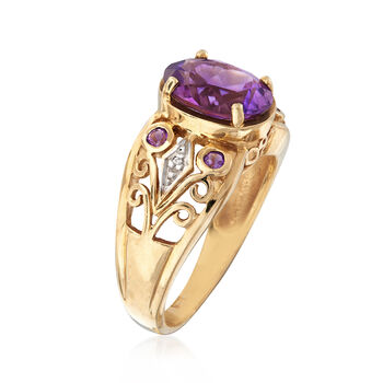 C. 1950 Vintage 2.40 ct. t.w. Amethyst Filigree Ring in 10kt Yellow Gold. Size 7, , default