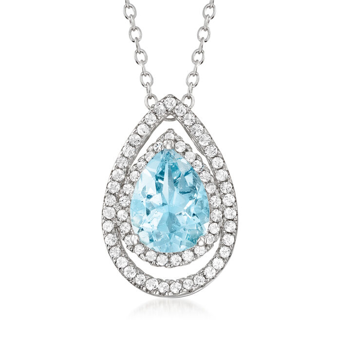 1.30 Carat Aquamarine and .60 ct. t.w. White Topaz Pear-Shaped Pendant Necklace in Sterling Silver