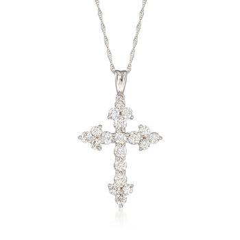 "1.00 ct. t.w. Diamond Cross Pendant Necklace in 14kt White Gold. 18"", , default"