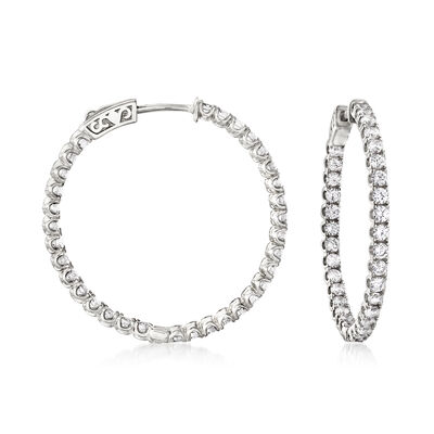 3.30 ct. t.w. CZ Inside-Outside Hoop Earrings in Sterling Silver, , default