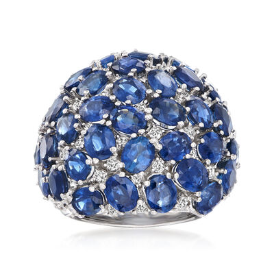 14.00 ct. t.w. Sapphire and .68 ct. t.w. Diamond Cluster Ring in 14kt White Gold