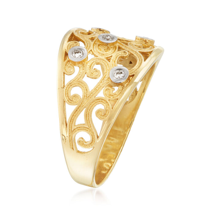 14kt Yellow Gold Scroll Ring with Diamond Accents