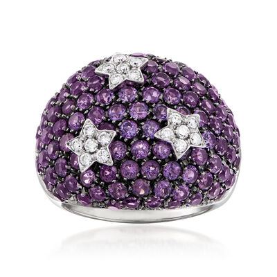 C. 1990 Vintage Garavelli 6.00 ct. t.w. Amethyst and .28 ct. t.w. Diamond Star Ring in 18kt White Gold, , default