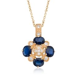 "1.50 ct. t.w. Sapphire and .15 ct. t.w. Diamond Necklace in 14kt Yellow Gold. 16"", , default"