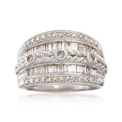 C. 1990 Vintage 1.35 ct. t.w. Diamond Braided Ring in 14kt White Gold, , default