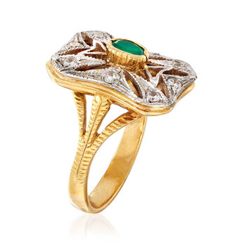 C. 1980 Vintage Green Chalcedony and .35 ct. t.w. CZ Ring in 18kt Two-Tone Gold. Size 7.5