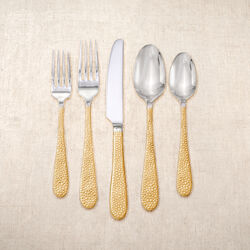 "Yamazaki 20-pc. ""Pebble"" 18/10 Stainless Steel 24kt Gold-Plated Stainless Steel Flatware Set, , default"