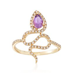 .30 Carat Amethyst and .30 ct. t.w. Diamond Snake Ring in 14kt Yellow Gold, , default