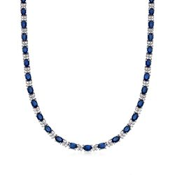 "20.00 ct. t.w. Sapphire and 3.25 ct. t.w. Diamond Tennis Necklace in 14kt White Gold. 16"", , default"
