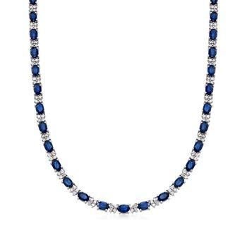 """20.00 ct. t.w. Sapphire and 3.25 ct. t.w. Diamond Tennis Necklace in 14kt White Gold. 16"""", , default"""