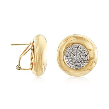 .65 ct. t.w. Pave Diamond Circle Earrings in 14kt Yellow Gold , , default