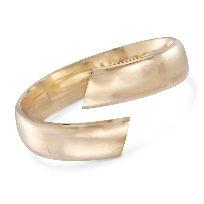 """Italian 18kt Yellow Gold Bypass Cuff Bracelet. 7.5"""", , default"""