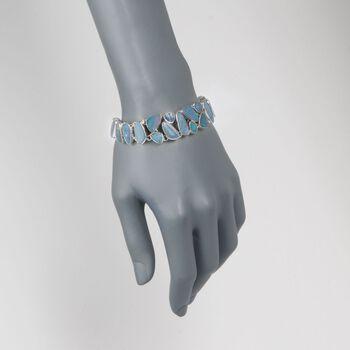 """Multi-Shaped Blue Opal Doublet Mosaic Bracelet in Sterling Silver. 7"""", , default"""