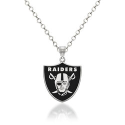 "Sterling Silver NFL Oakland Raiders Enamel Pendant Necklace. 18"", , default"