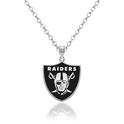 "Sterling Silver NFL Oakland Raiders Enamel Pendant Necklace. 18"", , default"