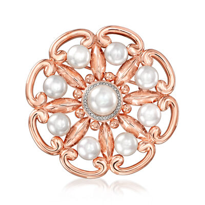 7.5-10mm Cultured Pearl and .10 ct. t.w. Diamond Flower Pin in 18kt Rose Gold Over Sterling, , default