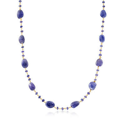 74.00 ct. t.w. Tanzanite Beaded Station Necklace in 18kt Gold Over Sterling