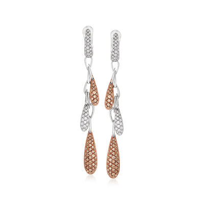 C. 2000 Vintage Hans Krieger 1.65 ct. t.w. Brown and White Diamond Drop Earrings in 18kt Two-Tone Gold, , default