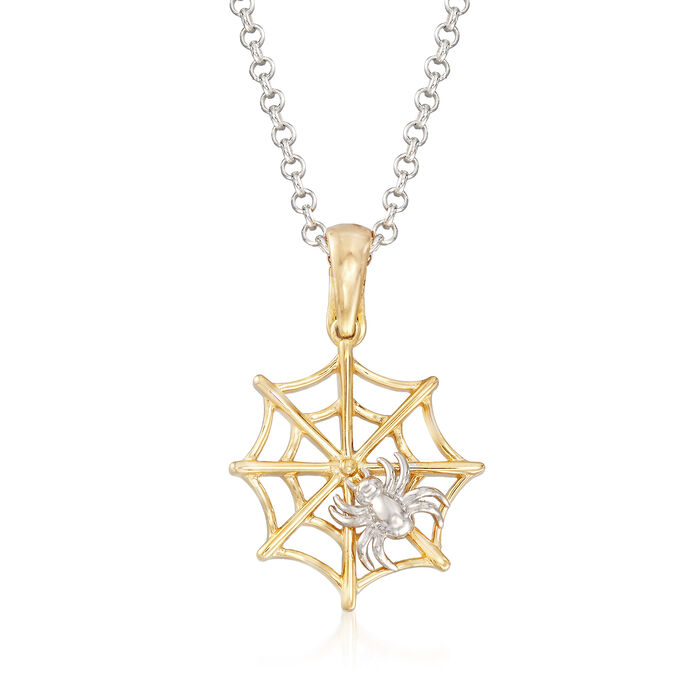 Spider and Web Pendant Necklace in Sterling Silver and 18kt Yellow Gold Over Sterling, , default