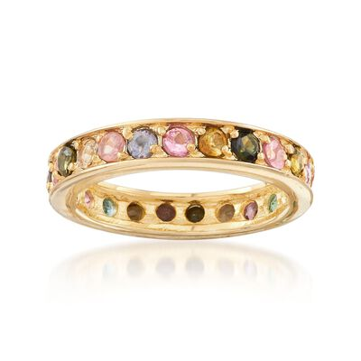 1.40 ct. t.w. Multicolored Tourmaline Eternity Band in 14kt Gold Over Sterling