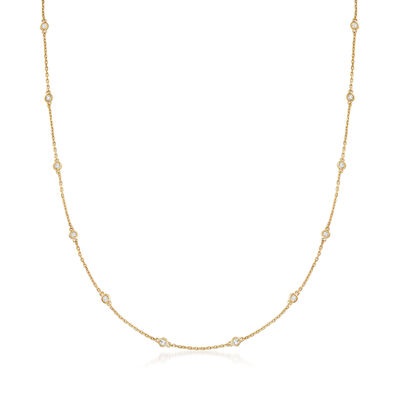 .25 ct. t.w. Bezel-Set Diamond Station Necklace in 18kt Gold Over Sterling, , default