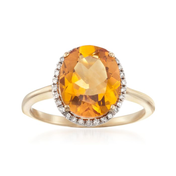 3.20 Carat Citrine and .13 ct. t.w. Diamond Ring in 14kt Yellow Gold, , default