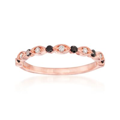 Henri Daussi 1.03 ct. t.w. Black and White Diamond Ring in 14kt Rose Gold, , default