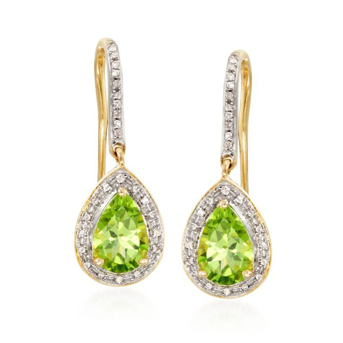 2.60 ct. t.w. Peridot and .20 ct. t.w. Diamond Drop Earrings in 14kt Yellow Gold, , default