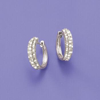 "1.00 ct. t.w. Multi-Row Diamond Hoops in 14kt White Gold. 5/8"". , , default"