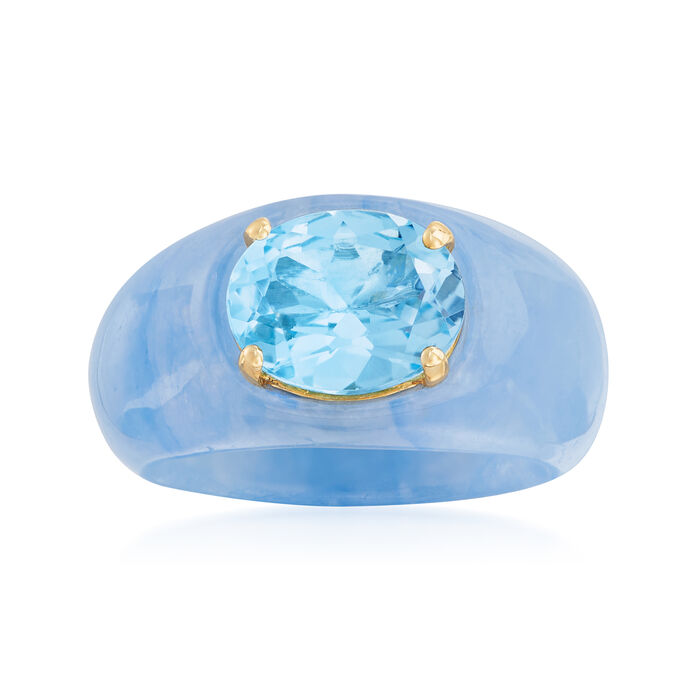 3.20 Carat Sky Blue Topaz and Blue Jade Ring with 14kt Yellow Gold