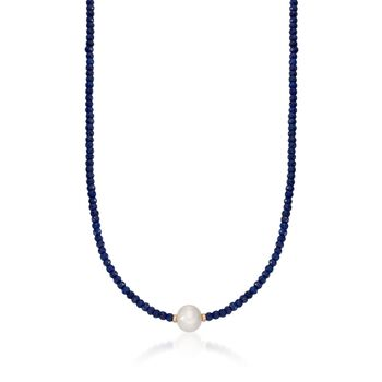78.00 ct. t.w. Sapphire Bead and 12-13mm Cultured Pearl Necklace With 14kt Yellow Gold, , default