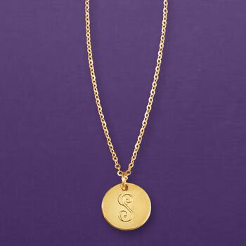 Italian 14kt Yellow Gold Single Initial Petite Circle Charm Necklace, , default