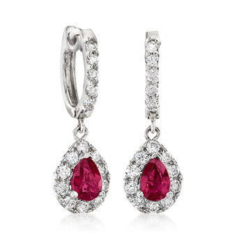 1.00 ct. t.w. Ruby and .70 ct. t.w. Diamond Drop Earrings in 14kt White Gold, , default