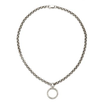 ".11 ct. t.w. Diamond Circle Charm Anklet in 14kt White Gold. 9.5"", , default"