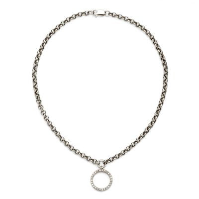 .11 ct. t.w. Diamond Circle Charm Anklet in 14kt White Gold, , default