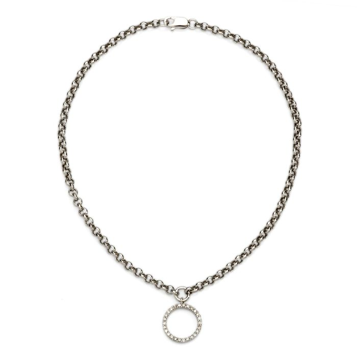 """.11 ct. t.w. Diamond Circle Charm Anklet in 14kt White Gold. 9.5"""", , default"""