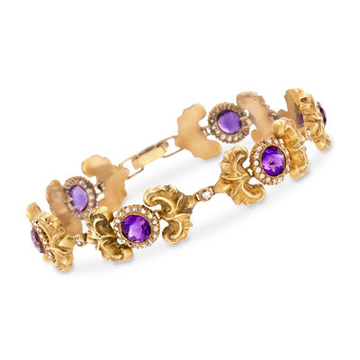 C. 1910 Vintage 8.00 ct. t.w. Amethyst and 1.85 ct. t.w. Diamond Bracelet in 14kt Yellow Gold, , default