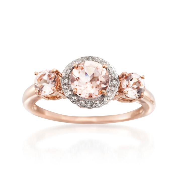 1.25 ct. t.w. Morganite Ring with Diamond Accents in 14kt Two-Tone Gold, , default