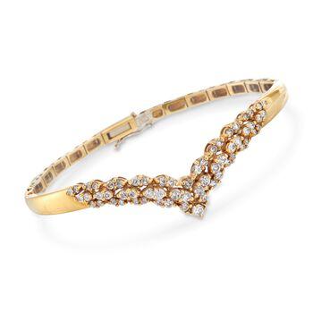 "C. 1980 Vintage 1.65 ct. t.w. Diamond V Bangle Bracelet in 18kt Yellow Gold. 7"", , default"