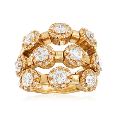 C. 1990 Vintage Sonia B. 3.15 ct. t.w. Diamond Triple-Row Ring in 14kt Yellow Gold, , default