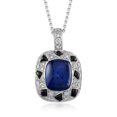 C. 1990 Vintage 6.00 Carat Sapphire, 1.10 ct. t.w. Diamond and Black Onyx Pendant Necklace in 14kt White Gold, , default